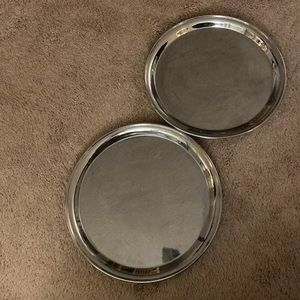 Two matching reflective silver trays 12""